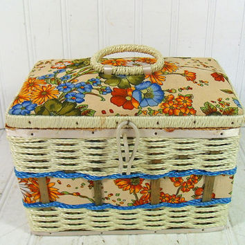 Vintage Floral Fabric Sewing Basket -  Retro Colorful Box with Woven Trim - Satin Lined Wooden HandBag