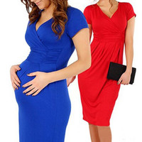 V-Neck Short Sleeve Maternity Dress