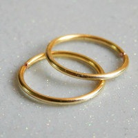 Small Cartilage Hoop Earrings // 2 piece gold cartilage, helix piercing, Nose Hoops // Gold Hoop Earrings