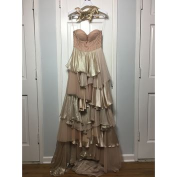 Cristina Pacini pink and gold strapless haute Couture evening gown sz 2/4