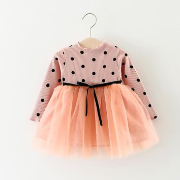 2017 new Stitching baby dress black dot Stand Up collar baby girls dress winter lace bubble dress fashion baby infant dress