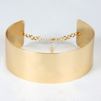 Wide Metallic Collar Choker
