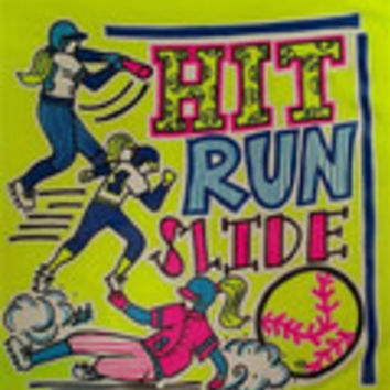 Southern Chics Funny Hit Run Slide Softball Sweet Girlie Bright T Shirt