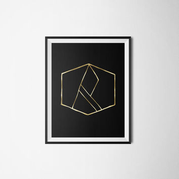 Printable poster, Abstract poster, Black and gold poster, Wall art, Printable wall art, Gold poster, Instant download, Gold foil poster