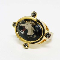 Portal Rhinetone Ring - Nautical Style w Oval Smokey Rhinestones - Costume Fashion Ring