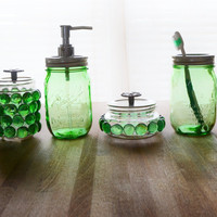 Green Mason Jar Soap Dispenser Set with Toothbrush Holder/Caddy, Q-Tip Holder, Cotton Ball Holder - Glass Bathroom Set - 4 pieces - Gift Set
