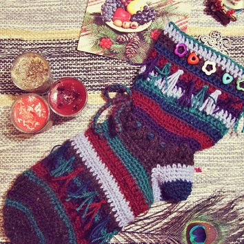 Hippie Christmas Stocking - Hanging Christmas Sock - Boho Christmas Ornament - Gypsy Decor - In Stock