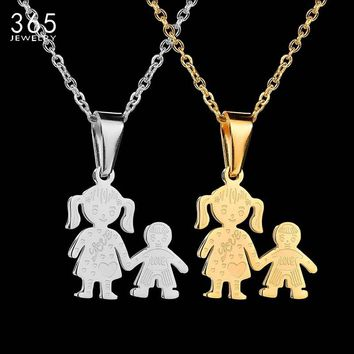 Top Quality Silver Color Mama Boy Pendant Necklace Stainless Steel Loving Family Necklace For Mom Sister Printed Gift