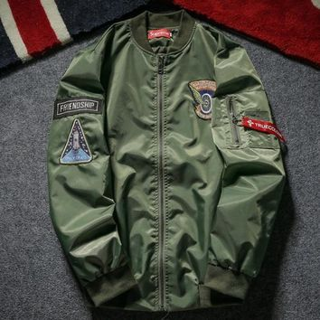 Supreme Embroidery baseball uniform locomotive cotton-padded clothes young thickening tooling Bomber coat Green