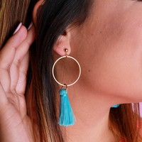 Small Tassel Earrings - Turquoise