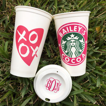 Heart XOXO Starbucks Cup, Starbucks Personalized Coffee Cup, Reusable Starbucks Cup, Starbucks Tumbler with FREE Monogram Lid