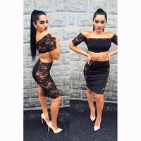 Black Floral Off-the-Shoulder Crop Top with Mini Lace Skirt