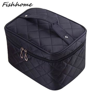 ESBONJ Cosmetic box 2017 new female Quilted professional cosmetic bag women's large capacity storage handbag travel toiletry makeup bag
