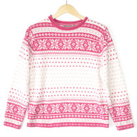 Soft Chenille Pink and White Ugly Ski Sweater