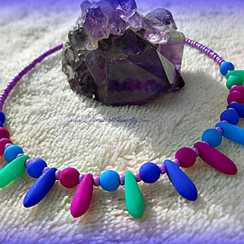 UV Multi Colored Anklet, Bohemian, Beach, Body Wear, Summer, Blacklight, Ready to Ship