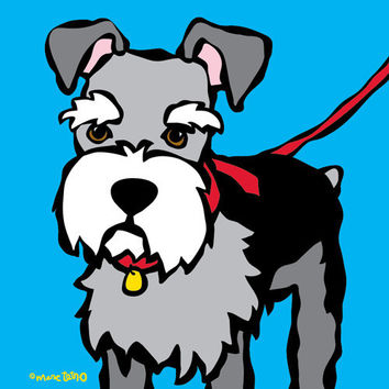 Schnauzer with Red Leash Print