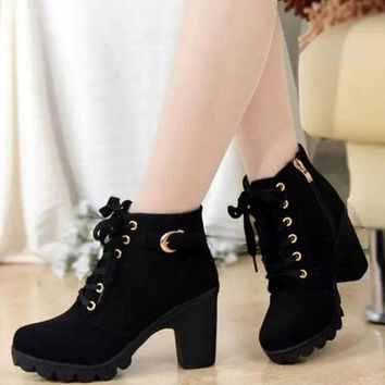 Women Winter High Heel Quality PU Zip Round Toe Lace-up Ankle Boots