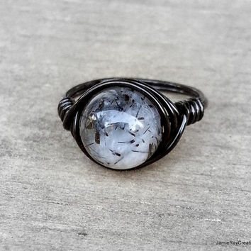 Rutilated Quartz Ring, Black Wire Wrap Ring, Boho Hippie Ring, Smoky Black Rutile Quartz Gray Stone Wrap Ring, Goth Black Wirewrap Ring
