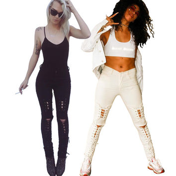New american apparel Women stretch cotton white designer sexy skinny lace-up ripped jeans pants High waist small bottom z084