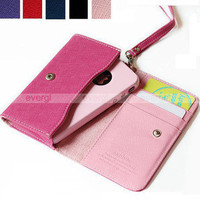 Luxury Leather Wallet Bag+Case Cover+Card Slots For iPhone4 4G/4S 3G Smart Phone