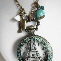 Eiffel Tower Watch Pendant Patina Necklace