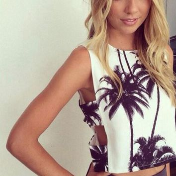 Fashion Side Hollow Coconut Trees Print Sleeveless Vest Crop Tops