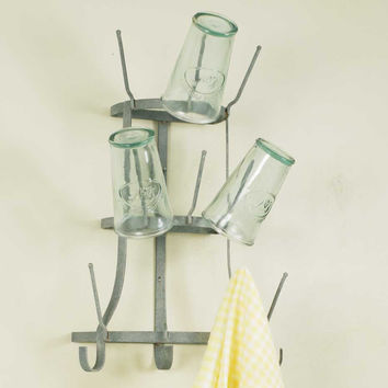 Cup Drying Wall Rack Galvanized Rustic Tree
