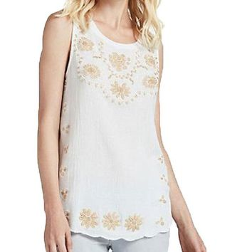 DCCKAB3 Lucky Brand Beaded Tank White