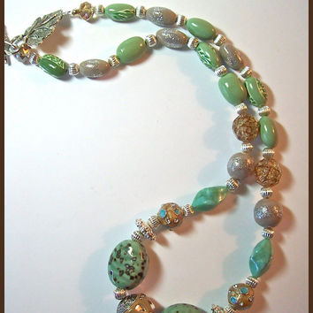 Jesse James beads & Polymer Clay necklace tan and soft green 20 in. handcrafted