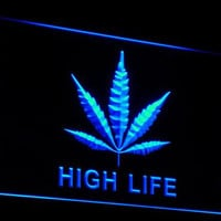 e006 Marijuana Hemp Leaf High Life Neon Light Sign (Free Shipping to usa)