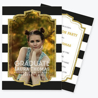 Gold Glitter Graduation Photo Invitation PDF Template, Stripes Printable Graduation Announcement Party Invitation, Class of, DIY You Print