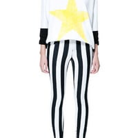STRIPED CROPPED TROUSERS WITH ZIPS ON ANKELS - Trousers - TRF - ZARA United States