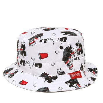 Riot Society Bear Pong Bucket Hat - Mens Backpack - White - One