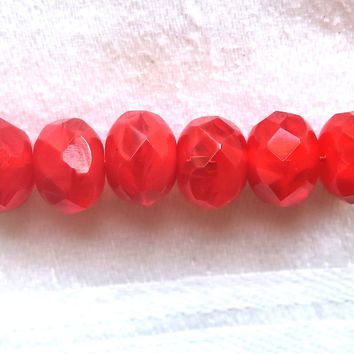 25 faceted red Czech glass puffy rondelle beads, opaque and translucent bright red marbled rondelles, sale price 03101