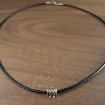 2mm Black Leather Necklace Cord With Bail Bead, 2mm Black leather Cord, Stainless Steel Lobster Clasp, Pendant Necklace