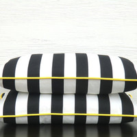 Stripe lumbar cover in black white and yellow, color block pillow case in 21x11,  Christmas gift idea for him