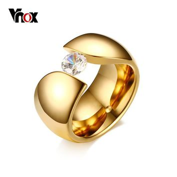 Vnox Luxury Solitaire CZ Ring for Women Gold color Stainless Steel Engagement Anniversary dropshipping