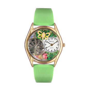 Whimsical Watches Healthcare Nurse Gift Accessories Cat Nap Green Leather And Goldtone Watch