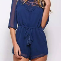 Backless Drawstring Romper with Lace Accent