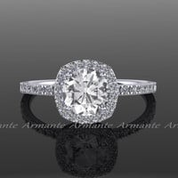 White Gold Cushion Cut White Sapphire Engagement Ring