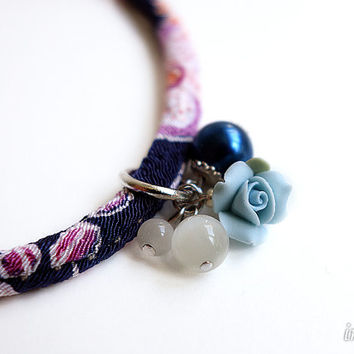 Pale blue rose Charm for Kimono Bracelets, a charm of pale blue rose with a glass beads