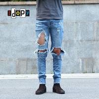Urban Cool Mens Side Ankle Zipper Jeans Skinny Stretchy Destroyed Distressed Knee Ripped Jeans With Holes For Men
