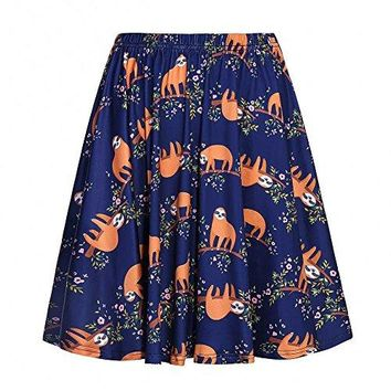 Fancyqube Women's Retro Pleated Floral Print Skirt