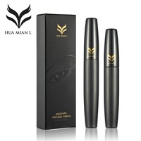 2pcs/lot HUAMIANLI Mascara Makeup Set Black 3D Mascara + Natural Fiber Eye Lash Waterproof Curling Colossal Lengthening Cosmetic