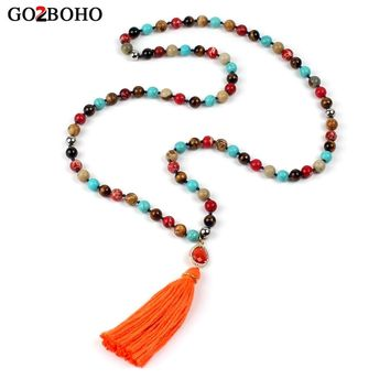 Go2boho Long Tassel Necklace Women Jewelry Love Pendant Beaded Necklaces Healing Colorful Natural Stone Ethnic Friendship Gifts