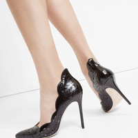 Metallic bow leather court shoes - Black | Shoes | Ted Baker