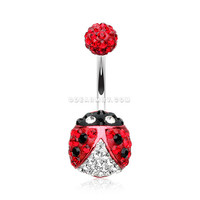 Adorable Lady Bug Multi-Gem Sparkle Belly Button Ring (Red)