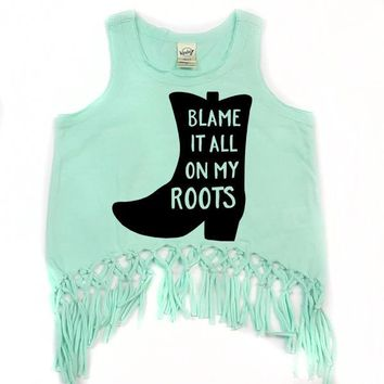 Blame It All On My Roots Fringe Tank Top