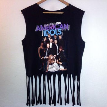 2 Sided / Tour TShirt / Concert / Tassle / Fringe / Muscle Top / Graphic Tee / Street Style