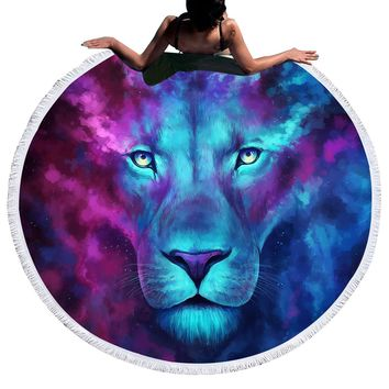 Firstborn by JoJoesArt Large Round Beach Towel for Adults Lion Toalla Tassel 150cm Blanket Sunblock Cover Up